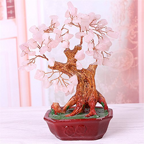 Crt Gucy 6.7 Inch Feng Shui Crystal Money Tree Natural Rose Quartz Gem Stone Gook Lucky Tree Bonsai Style Decoration for Wealth and Luck, (Potted Rose Topiary)