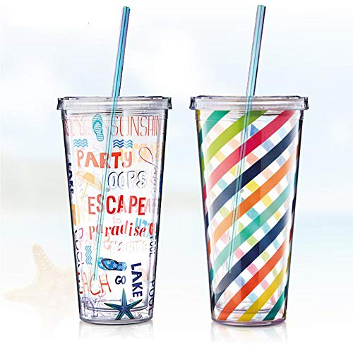 Metal Straws, Colorful Titanium Drinking Straws with Cleaning Brushes for Smoothies, Lemnoade, Cocktails, for 20oz/ 30oz Yeti Tumbler Ozark Trail Ramblers Cups (Titanium) by Billion Xin (Image #1)