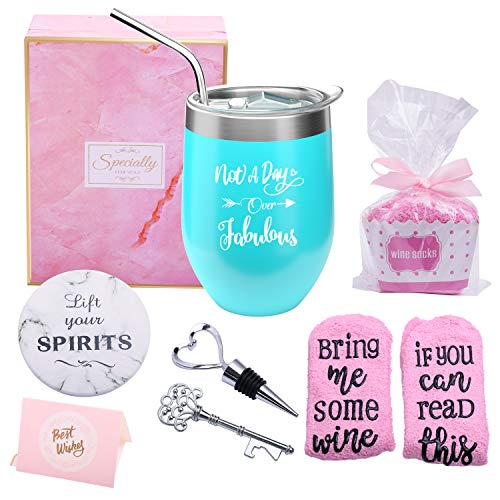 Not a Day Over Fabulous Wine Tumbler & Socks Gift Set
