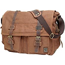 """Men's Shoulder Bag, Berchirly Vintage Military Men Canvas Messenger Bag for 13.3-17.3"""" Inch-Back to School"""