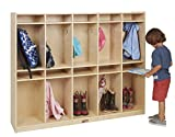 ECR4Kids Birch 10-Section School Classroom Coat Locker for Storage with Hooks