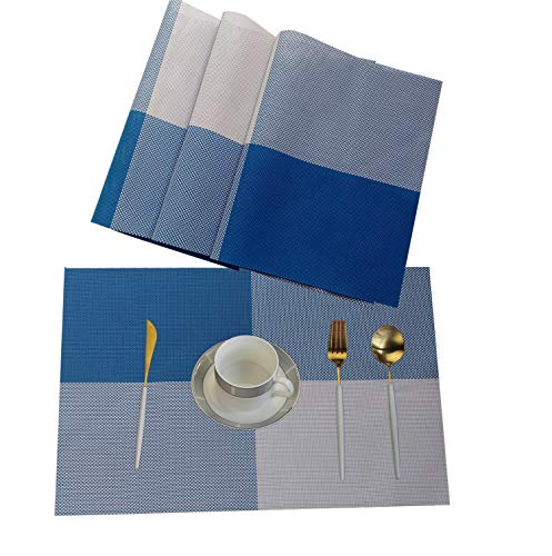 WANGCHAO Placemats, Heat-Resistant Placemats Stain Resistant Anti-Skid Washable PVC Table Mats Woven Vinyl Placemats, Set of 4 (Blue)