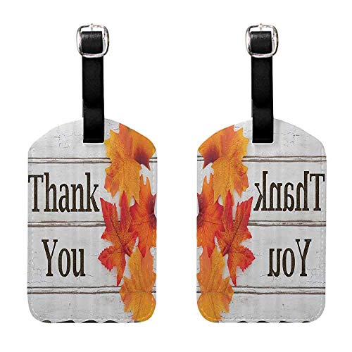 Travel ID Labels Fall Leaves Decor Collection,Foliage on Wooden Planks Maple Leafs Harvest Design,Grey Orange Black Celebrity Cruise