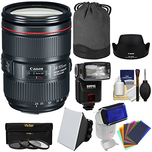 Canon EF 24-105mm f/4L is II USM Zoom Lens with 3 UV/CPL/ND8 Filters + Flash + Gel Diffusers + Soft Box + Kit (Canon Weatherproof Camera)