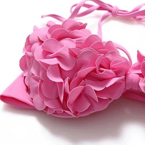 Moda bikini Split rosa lindo flores Spa traje de baño de playa Pink