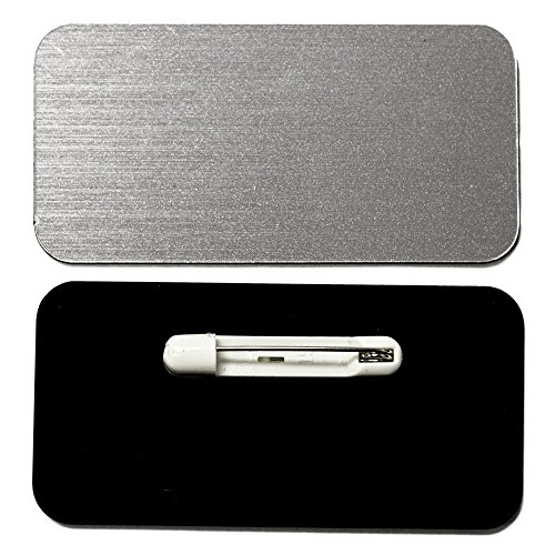 - Name Tag / Badge Blanks - 10 Pack - Brushed Silver 1-1/2