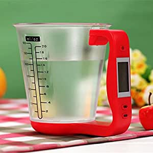 dipshop LCD Digital 1KG Measuring Cup Kitchen Scale (Red)