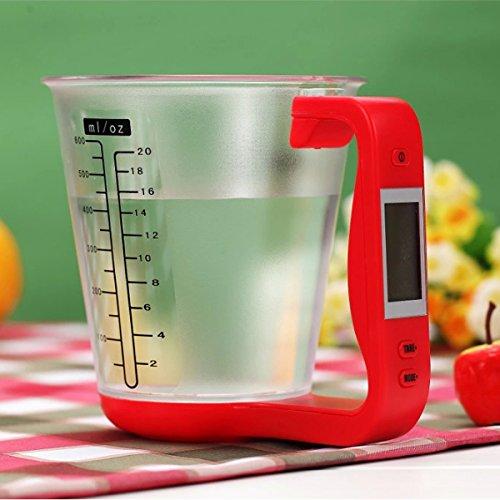 sudarathkshop LCD Digital 1KG Measuring Cup Kitchen Scale (Red)