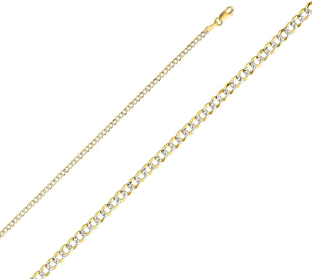 Ioka 14K Yellow Solid Gold 2.7mm Cuban White Pave Chain Necklace with Lobster Clasp
