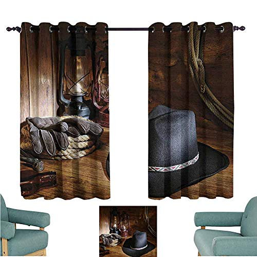 DONEECKL Sliding Curtains Western American Rodeo Equipment with Cowboy Felt Hat Ranching Tools Lanterns Photo Light Blocking Drapes with Liner W55 xL39 Black and Brown ()