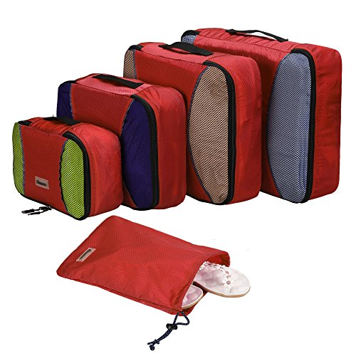 Homdox 4 Piece Set Packing Cubes with Laundry Bag (Honeycomb fabric Red)