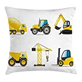 Ashasds Cartoon Style Heavy Machinery Truck Crane Digger Mixer Tractor Construction Cotoon Flax Throw Pillow Covers For Home Indoor Cushion Standard Size 16x16 In