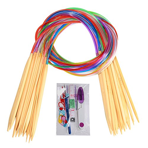 "18 Pairs Bamboo Knitting Needles Set, BetyBedy Circular Wooden Knitting Needles with Colorful Plastic Tube, Small Tools for Weave are Included, 18 Sizes: 2mm - 10mm, 31.5"" Length"
