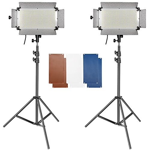 Studio 500 Light 2 (Neewer 2 Pieces 500 LED Lighting Panel and Stand Kit Includes: (2)LED Video Light with 4 Dimmer Switch and (2)Heavy Duty 3-6.5 feet Adjustable Stand for YouTube, Portrait, Product Photography)