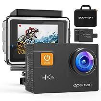 apeman 4K 16MP Action Cam Wi-Fi Subacquea Ultra HD Sport Action Camera Impermeabile 30M con Telecomando 2.4G due1050 mAh Batterie e Kit di Montaggio Accessori