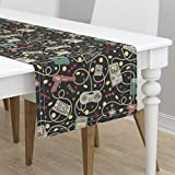 Table Runner - Technology Gadgets Geek Retro Outdated Technology Gaming Nerdy by Teja Jamilla - Cotton Sateen Table Runner 16 x 72