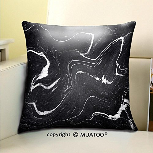 PleayeL Soft Canvas Throw Pillow Covers Cases for Couch Sofa -black marble ink texture acrylic painted waves texture background pattern can used for wallpaper Print 20x 20(50 x 50 cm) (Backrest Pattern)