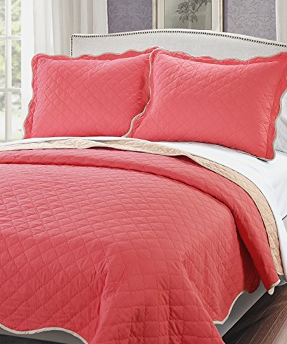 Peach Comforter Sets (Serenta 3 Piece Solid Reversible Microfiber Quilts Set, Queen, Peach Pink/Light Taupe)