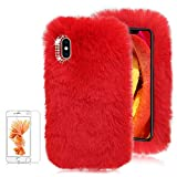 For iPhone 7/iPhone 8 Soft Warm Plush Case [with Free Screen Protector],Funyee Artificial Fluffy Villi Wool Cute Plush Soft Silicone TPU Case for iPhone 7/iPhone 8 4.7 inch with Shiny Diamond,Red