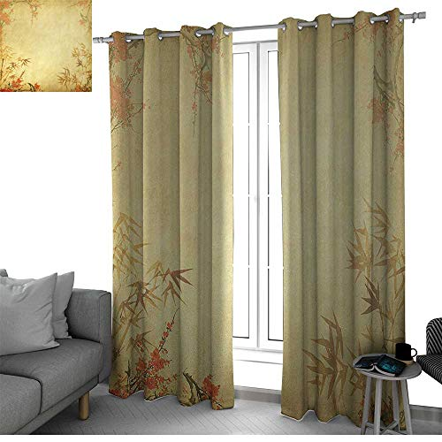 Bamboo Microfiber Window Panel Pair Bamboo Stems and Blooming Flower Antique Grunge Background Oriental Artwork Doorway Curtain Mustard Vermillion W120 x L84 Inch ()