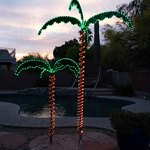 (Green LongLife 7-Feet Decorative Lighted Palm Tree - Holographic Rope Light for Indoor and Outdoor Use)