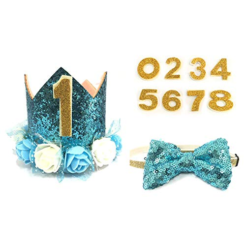 Dog Birthday Boy-Crown Dog Birthday Hat with 0-9 Figures Charms Grooming Accessories Pack of 1-Blue Adjustable Bow-Great Dog Birthday Outfit and Decoration Set.