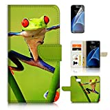 ( For Samsung S7 , Galaxy S7 ) Flip Wallet Case Cover & Screen Protector Bundle! A20383 Frog on Leaf