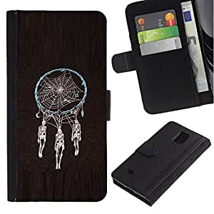Billetera de Cuero Caso Titular de la tarjeta Carcasa Funda para Samsung Galaxy Note 4 SM-N910 / Dream Catcher Skeleton Black Spider / STRONG