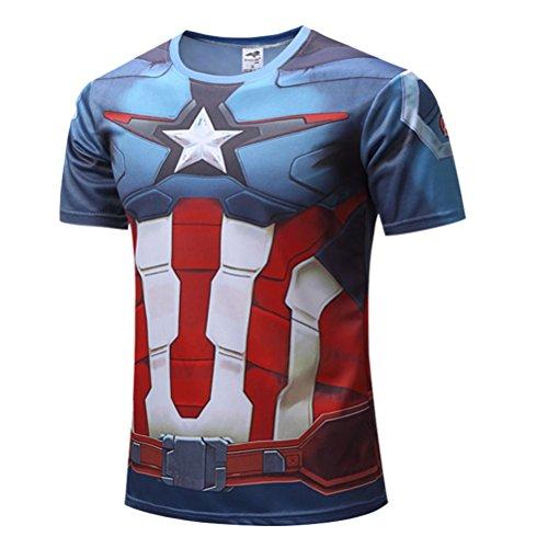 Men's Slim Dri Fit Athletic Tee Superhero Captain America Gym Running Shirt 4XL -