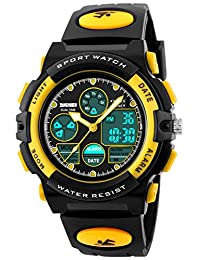 Fanmis Boys Analog Digital Electronic Sports Watch Multifuntional 24H Military Time Dual Time Quartz Waterproof LED Back Light with Simple Large Numbers 164ft 50M Water Resistant Calendar Day and Date Alarm Stopwatch Yellow