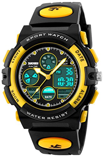Fanmis Boys Analog Digital Sports Watch Multifuntional 12/24H Military Dual Time Quartz 50M Waterproof LED Back Light with Simple Large Numbers Calendar Day and Date Alarm Stopwatch Yellow ()