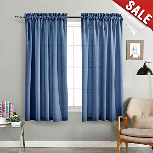 Semi Sheer Curtain Panels for Bedroom 63 Inches Length Semi Sheer Voile Window Curtains for Living Room Draperies (2 Panels, Royal ()