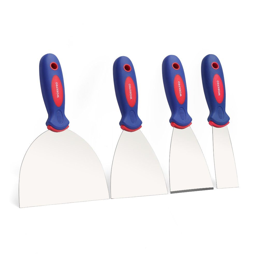 WORKRPO Putty Knife Set Stainless Steel Made 4-piece 1.5'',3'',4'', 6''