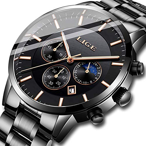 (Watches Men Fashion Stainless Steel Sport Analog Quartz Watch Men Luxury Brand LIGE Waterproof Date Business Dress Wristwatch Man Black Gold Clock)
