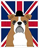 125D - English Bulldog with Union Jack Flag UNFRAMED Wall Art Print by Lee ArtHaus
