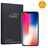 #10: iPhone X Screen Protector, 2 Pack Tempered Glass Anti-fingerprint High Light Penetration Ratio 9H Hardness Anti-scratch Bubble Free