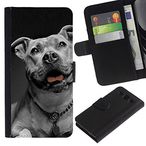 Billetera de Cuero Caso Titular de la tarjeta Carcasa Funda para Samsung Galaxy S3 III I9300 / American Bulldog White Black Collar Dog / STRONG