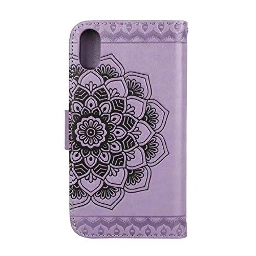 SRY-Mobile Phone Cases & Covers Funda para iPhone X, funda de cuero premium de la PU en relieve, medio diseño de flores [correa para la muñeca] Funda para cartera, funda con soporte para iPhone X (201 Purple