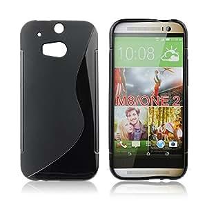 handy-point Funda de goma para HTC One M8 en negro, Silicona, Gel, Cubierta, Funda de protección, Semicaja de teléfono móvil, Protección