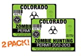 Colorado-ZOMBIE HUNTING PERMIT TAG-2 PACK-DECAL STICKER-LICENSE-2012/2013-CO