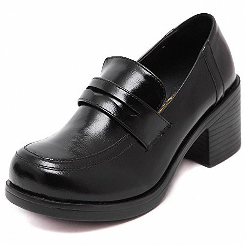 Women's Girl's Lolita Mid Heel Students Uniform Dress Shoes for Costume and Daily (6.5, black) - School Girl Costume Shoes