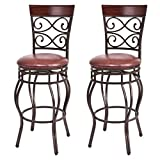 Set of 2Pcs Vintage Footstool Black Iron Frame Brown Seat Covers Counter Cushion Chair with Backrest Rotatable Restaurant Kitchen Bistro Pub Stool