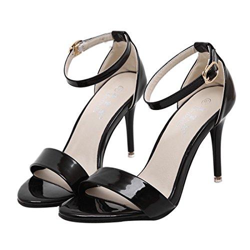 Confortables UH Travailler de Heel Boucle High Sandales Cheville Bride Ouvert Bout pour Noir Fermeture Stiletto Vernis Femmes BBF1Cqwfx
