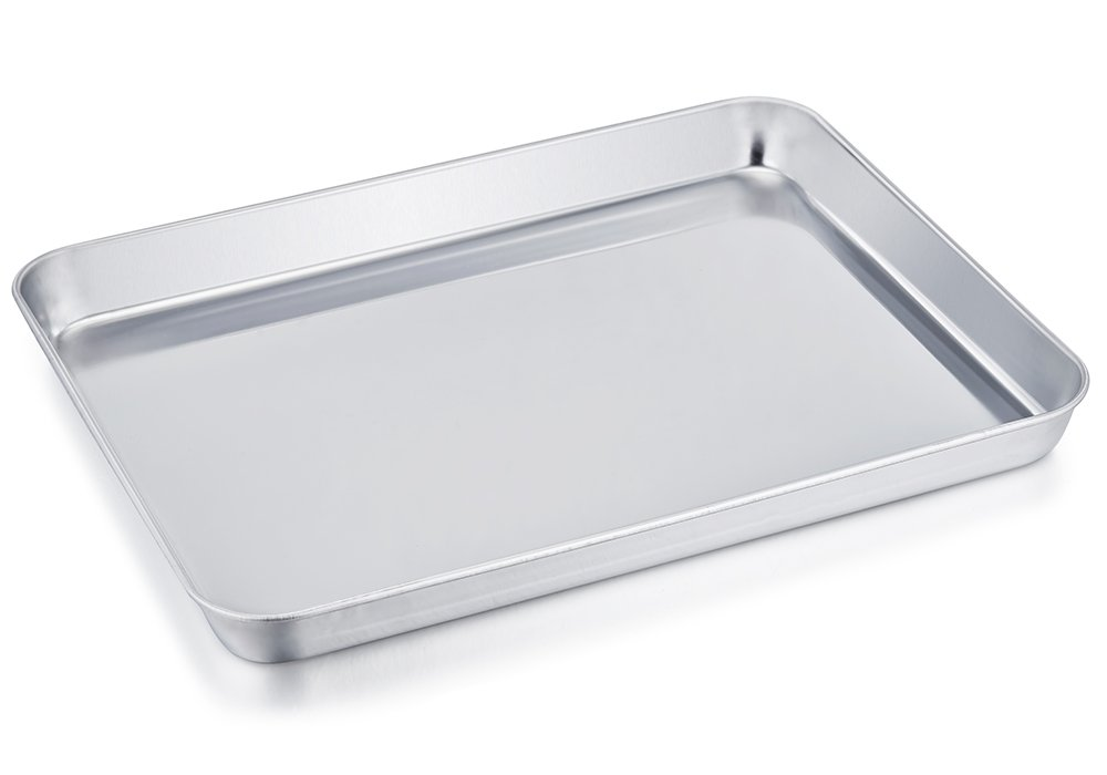 TeamFar Stainless Steel Compact Toaster Oven Pan Tray Ovenware Professional, 8''x10''x1'', Heavy Duty & Healthy, Deep Edge, Superior Mirror Finish, Dishwasher Safe by TeamFar