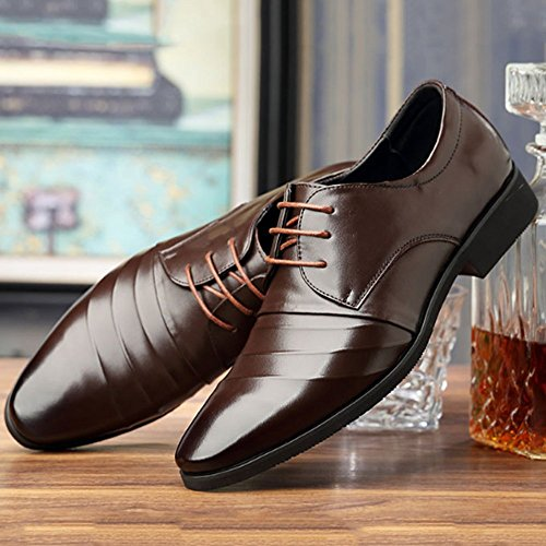 Messieurs Mode Affaires Chaussures Brown1 en Hommes LYZGF Lace Casual Cuir vxO5nI