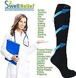 6 Pair Black Small/Medium Ladies Compression Socks, Moderate/Medium Compression 15-20 mmHg. Therapeutic, Occupational, Travel & Flight Knee-High Socks. Women's Shoe Sizes 6-10, Men's Sizes 5-9