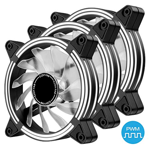 EZDIY-FAB 120mm PWM White LED Fan, Dual-Frame LED Case Fan for PC Cases, High Airflow Quiet,CPU Coolers, and Radiators,4-Pin-3-Pack