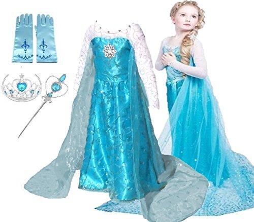Ice Queen Glitter Princess Dress (Size 6-7)