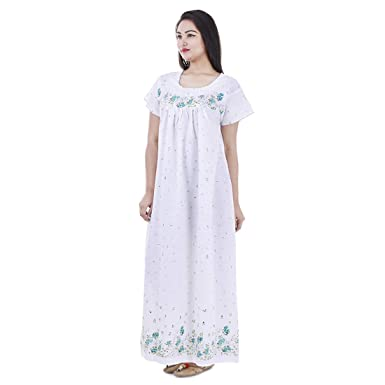 Indian Handicraft Women s Cotton Nightwear Gown Sleepwear Maxi -Dress  (White f84c96496c