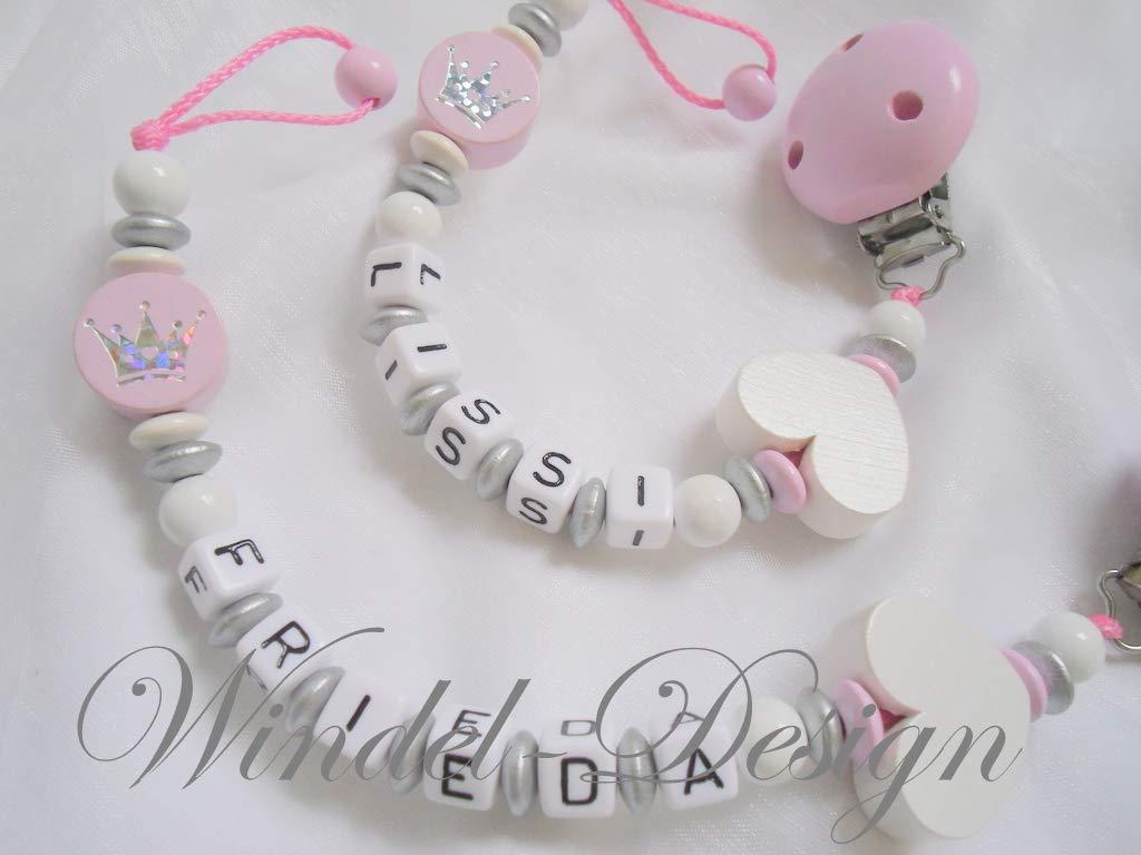 Geschenk zur Geburt Kinder Taufe Schnullerkette Zwillinge Krone M/ädchen Junge Baby Babyparty Schnullerketten mit Namen